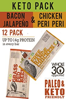DNX Keto Pack Grass Fed Beef Uncured Bacon Jalapeno Bars and Free Range Chicken Bars. Whole30 Approved Snack Bars 6 of Each (12 Bars)