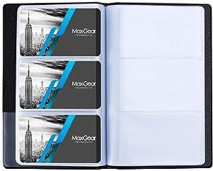 MaxGear Business Card Organizer Business Card Holder Book, PU/Vegan Leather Business Card Binder File Sleeve Storage, Business Card Holders Name Card Holder for Men & Women, Capacity: 240 Cards, Black