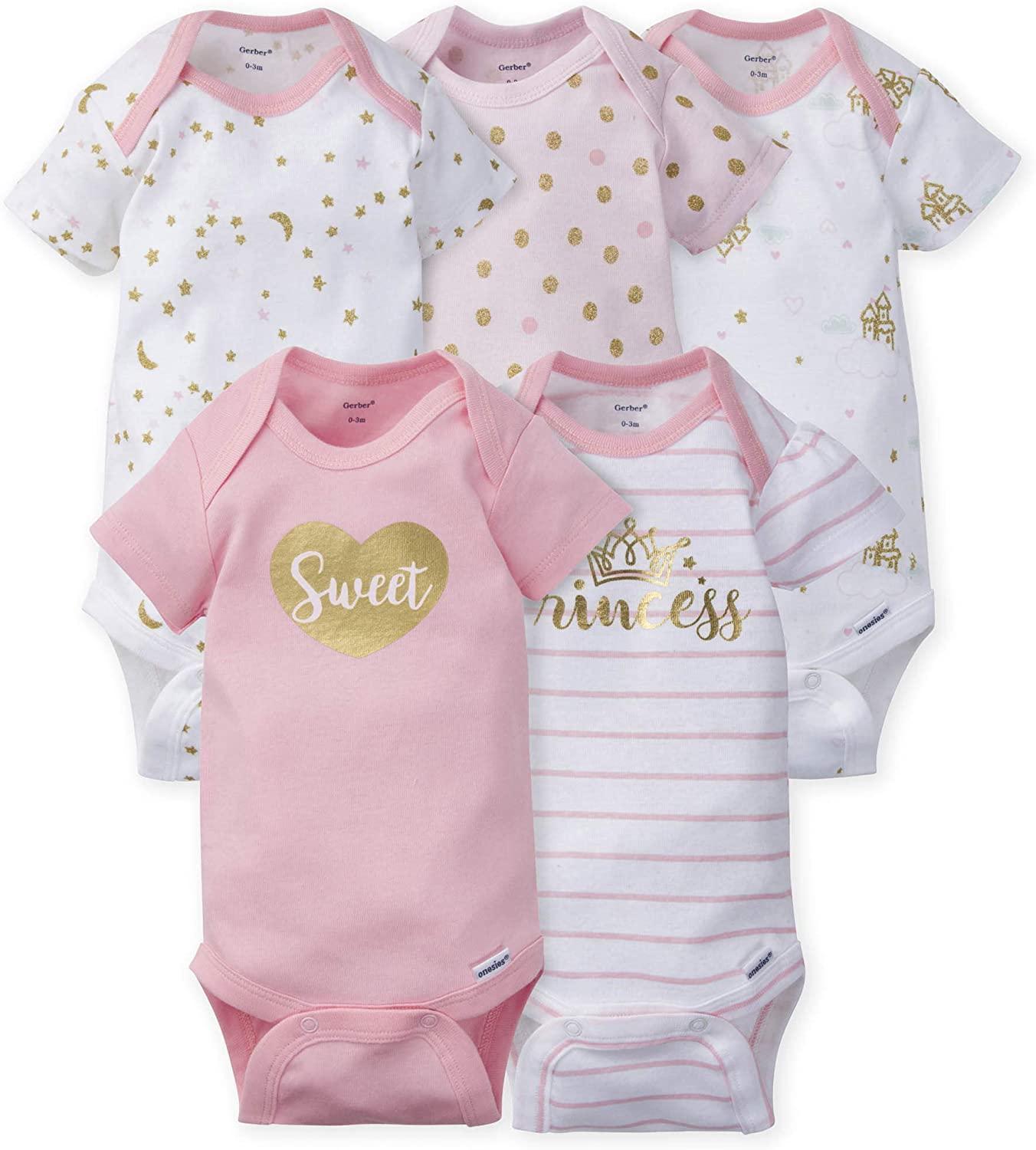 Gerber 1 year warranty sold out baby-girls 5-pack Onesies Bodysuits Variety