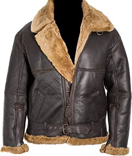 Mens Aviator Brown B3 Bomber Real Shearling Flight Leather Jacket
