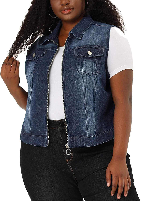 Agnes Orinda Plus Size Denim Vests for Women Sleeveless Chest Pockets Zip Up Jean Jacket Vest