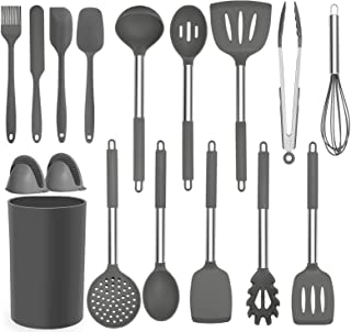 BRITOR Kitchen Silicone Utensil Set,16 Pcs Full Silicone Handle Non-Stick Heat Resistant Cooking,Cookware with Stainless S...