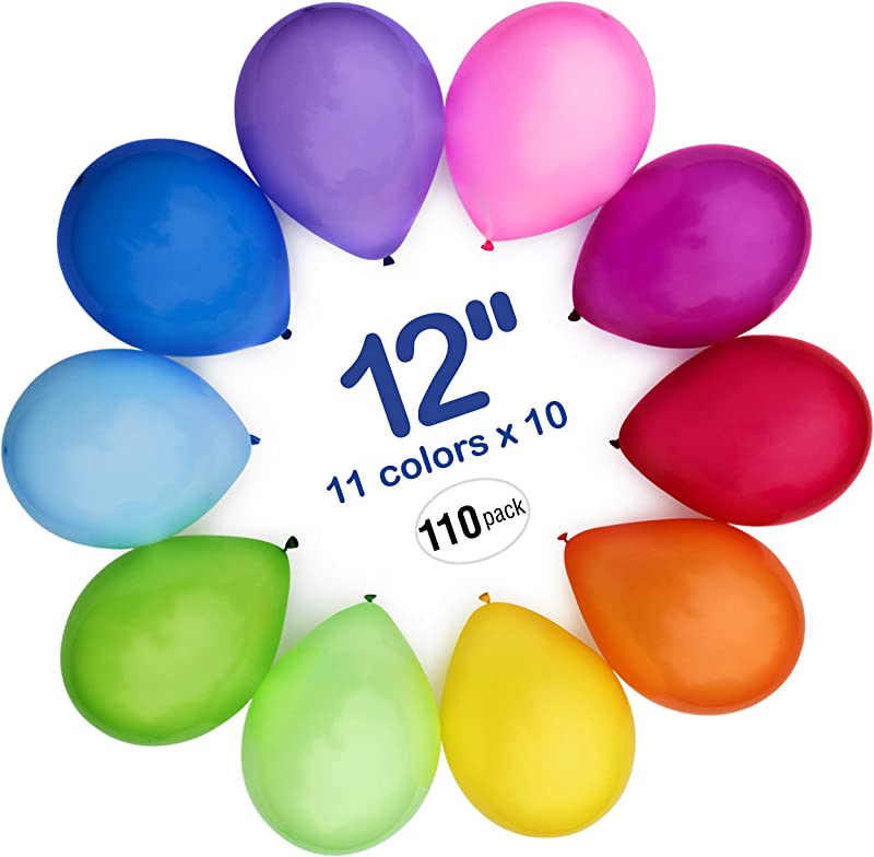 WinkyBoom Balloons Assorted Color 12 Inches 100 Count Premium Quality Latex For Birthday Party Decorations