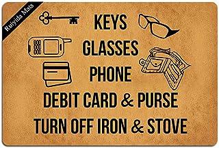 Ruiyida Keys Glasses Phone Debit Card & Purse Turn Off Iron & Stove Entrance Floor Mat Funny Doormat Door Mat Decorative I...