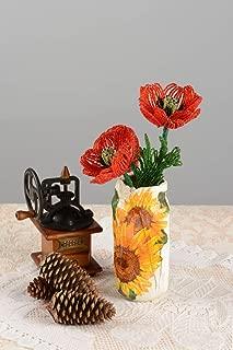 Handmade Designer Seed Beaded Vase With Poppy Flowers Beaded Bouquet Decoration