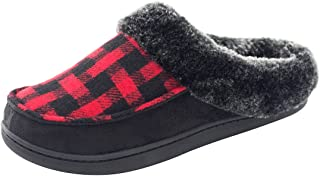 Women's Comfy Wool Plush Fleece Slip On Memory Foam Clog House Slippers w/Plaid Upper Indoor, Outdoor Sole House Shoes
