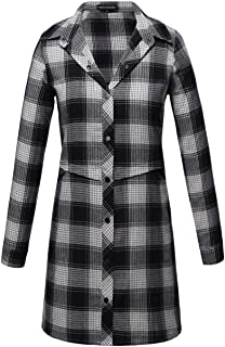 OMEYA.WANSHIDA.Women Long Sleeve Button Up Plaid Flannel Shirt Jacket (XL, Grey-1)