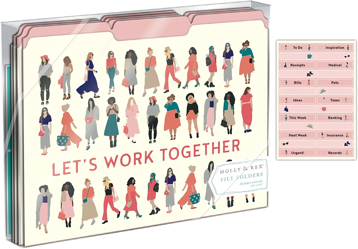 Punch Studio Molly & Rex File Folders Set of 10 - Yes She Can