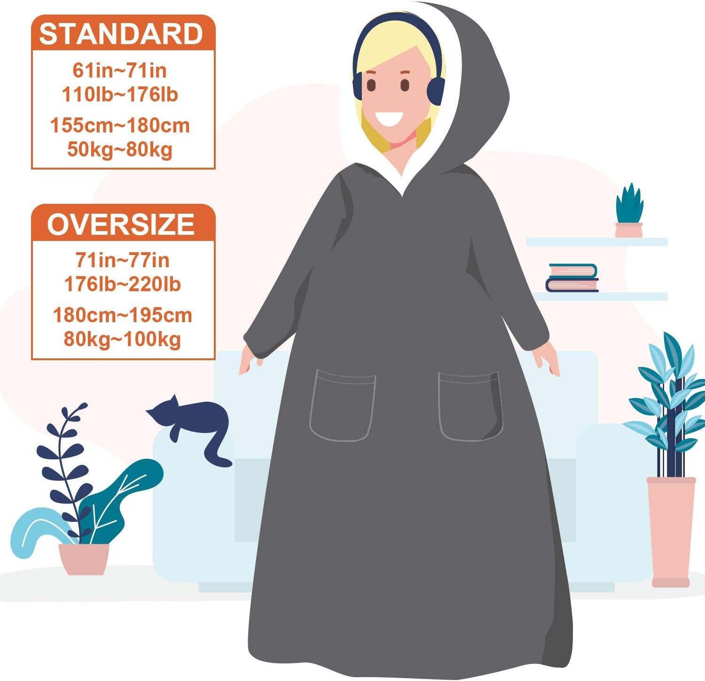 Navy Standard Size Eheyciga Blanket Hooded with Sleeves and Pocket Soft Fleece Hoodie Blanket for Men /& Women