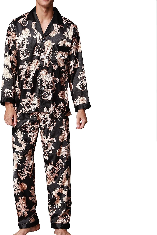 Lu's Chic Men's Pajama Set 2 Piece Loungewear Button Down Pj Print Notch Collar Sleepwear Pant