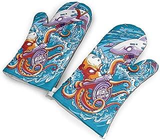 ZORITO Octopus Vs Shark Oven Mitts - 1 Pair of Extra Long Professional Non-Slip Baking Gloves - Food Safe, Soft Inner Lining