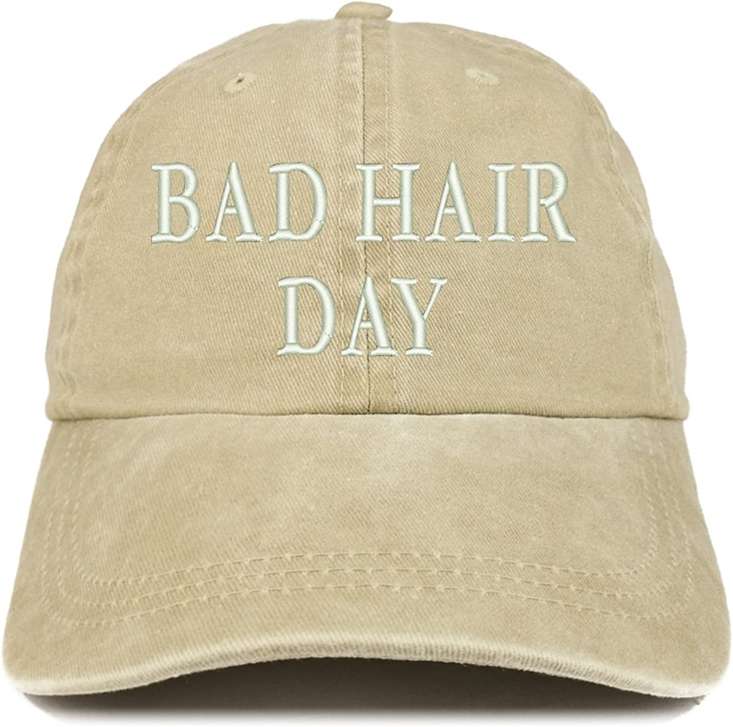 Trendy Apparel Shop Bad Hair Day Embroidered 100% Cotton Baseball Cap