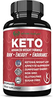 Keto Weight Loss Diet Pills : Rapid Fat Burner, Metabolism and Energy Ketosis Diet Pills for Men and Women - All Natural Gluten/Sugar Free Supplements with Raspberry Ketones - 60 Veggie Capsules