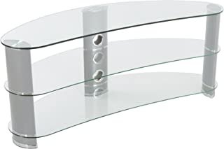 AVF Reflections - Jelly Bean 1200 Curved TV Stand (Silver/Clear Glass)