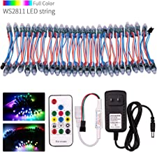 VISDOLL WS2811 DC12V Pixel LED String Lights Kit with RF Remote and Power Supply, Individually Addressable 12mm Diffused R...