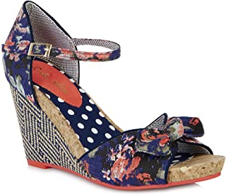 f351a590e9fb0 Ruby Shoo Women's Blue Floral Fabric Wedge Molly Sandals UK 5 EU 38
