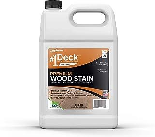 #1 Deck Premium Semi-Transparent Wood Stain for Decks, Fences, Siding – 1 Gallon (Cedar)