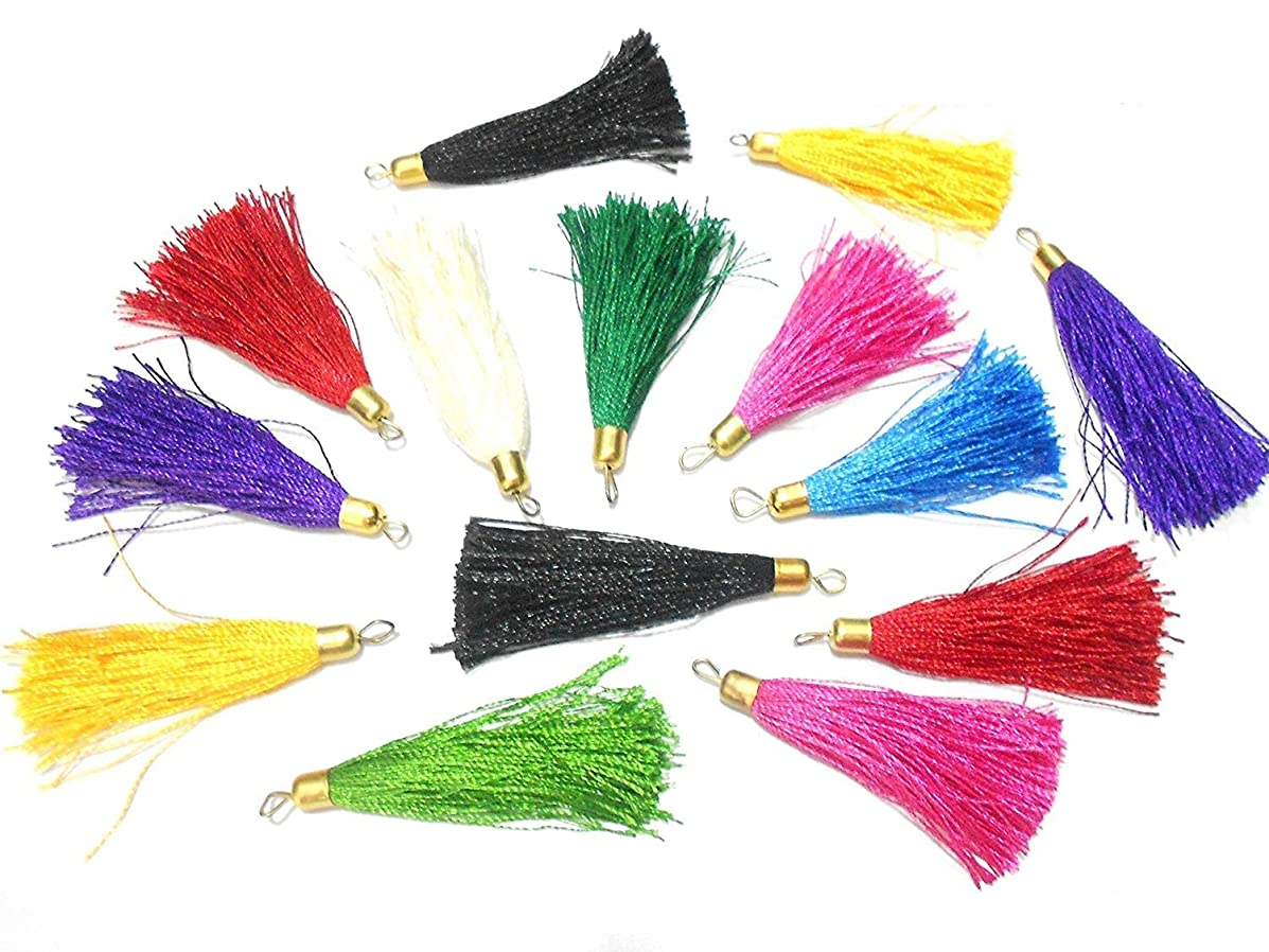 100 Pcs Thread Tassels Bunch for DIY Crafts, Keychain, Bags, Jewelry in Multicolor