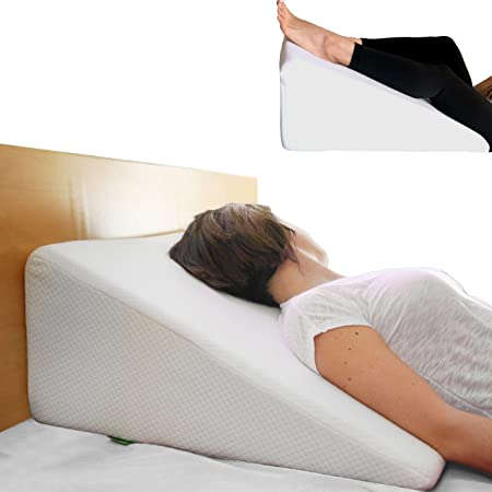 Cushy Form Bed Wedge Pillow - Memory Foam Sleeping Pillows for Elevated Incline Support, Back/Shoulder Pain, Snoring Relief - Post Surgery Triangle Wedges