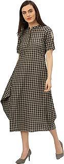 Desi Fusion Women Casual Tunic Long Maxi Printed Handloom Cowl Dress (Black & Grey)