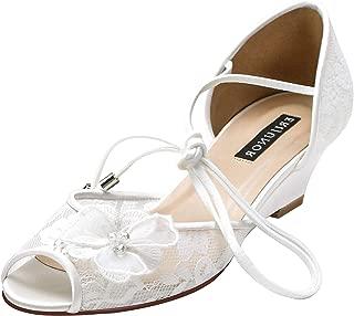 ERIJUNOR Women Lace Peep Toe Bridal Wedding Shoes Mid Heel Wedges Sandals Tie Up