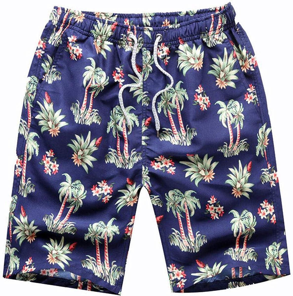 Men's Swim Trunks Beach Board Shorts with Lining -Green Coconut Style (XXXL)