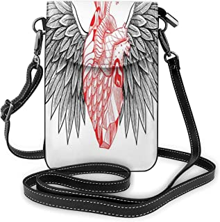 Jiger Women Small Cell Phone Purse Crossbody,Heart With Wings Anatomy Of Love Human Body Gothic Valentines Day Theme