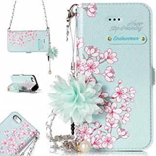 iPhone 5 SE Wallet Case for Women, iPhone 5S Flip Case Handbag [Wrist Chain Flower Strap] [Stand] Aeeque Slim Fit [Card Holder] Magnetic PU Leather Wallet Cover for iPhone 5/5S/SE, Pink Blossom