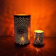 Hashcart Traditional Tea Light Candle Holder/Metal Candle Light Holder Set/Designer Votive Candle Holder Stand, Black Voti...