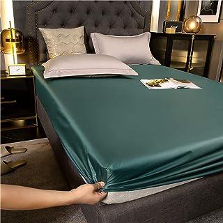 Premium Quality Plain Fitted Sheet, Soft & Cosy Fleece Bed Linen, Kingsize Bedsheet,Dark green,180x200cm