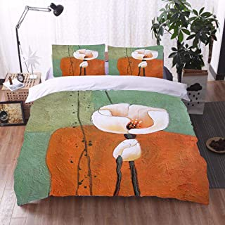 3Pcs Bedding Set 3D Printing Abstract White Flower Oil Painting Polyester Duvet Cover And Pillowcases Breathable Easy Care...