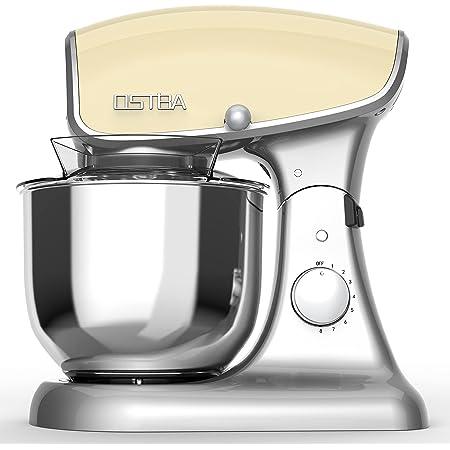 Stand Mixer, 8 Speeds 600W OSTBA Die-cast Food Stand Mixer, 5.5Qt Tilt-Head Electric Kitchen Mixer, Stainless Steel Mixing Bowl, Dough Hook, Egg Whisk, Mixer Beater, Splash Guard, Almond Cream