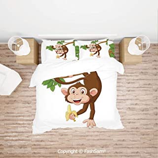 FashSam Luxury 4 Pieces Duvet Cover Bedding Set Funny Monkey Hanging from Tree with Banana Jungle Animals Theme Mascot Print Decorative for Family(King)