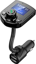 "Bluetooth FM Transmitter for Car, Wireless FM Radio Transmitter Adapter Car Kit Dual USB Charging Port Car Charger with Hands Free Calls and 1.44"" LCD Display Support Aux Input/Output TF Card USB Disk"