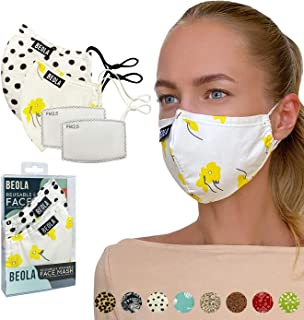 BEOLA Washable Fashion Face Mask Non Medical Reusable With Filter Reusable (Sandra 2 pcs No Valve)