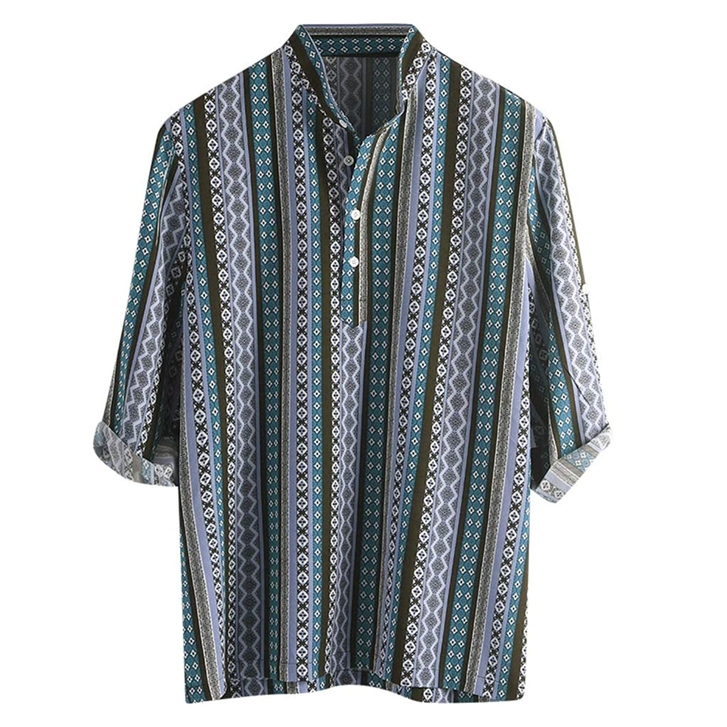 Swyss Men's Ethnic Printed Fashion Henley Tee Stripe Button-Down Half Sleeve Loose Casual T-Shirts Tops
