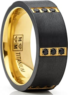 Metal Masters Co. Black Zirconium Wedding Band with Gold Tone Plating and Black Cubic Zirconia CZ Comfort Fit 8mm