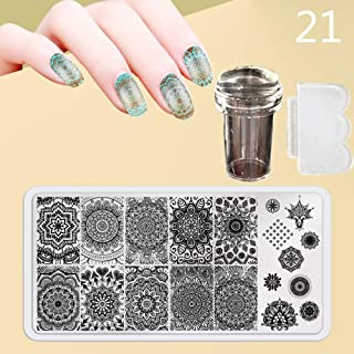 Zmond - New 12X6cm 44 Style Nail Stamping Plates Set Made Stencils Lace Flower DIY Nail Art Templates+Transparent Stamper Stamp Scraper [ 21 ]