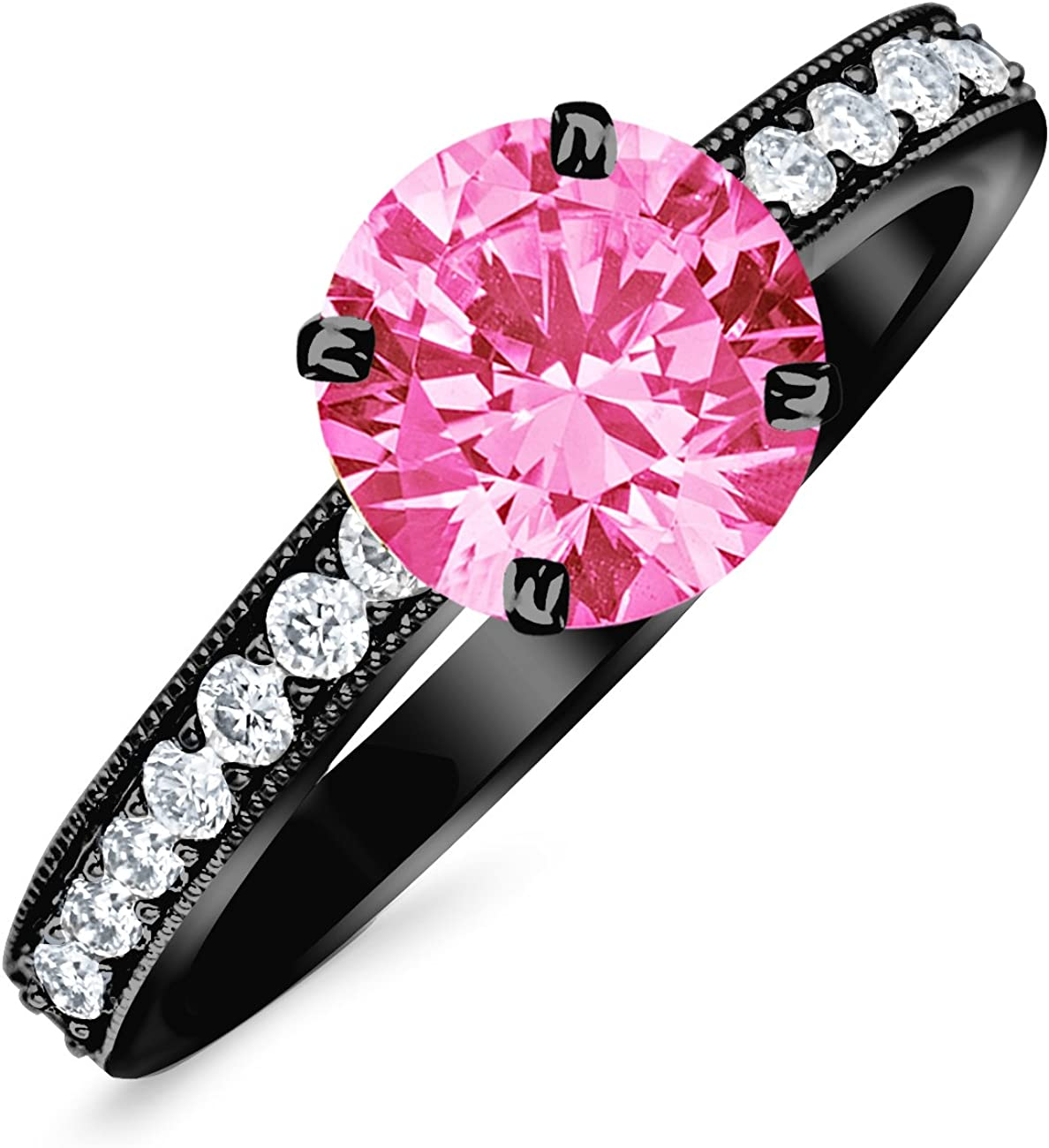 1.05 Carat 14K Black Gold Classic Side Stone Pave Set With Milgrain Diamond Engagement Ring with a 0.75 Carat Natural Pink Sapphire Center (Heirloom Quality)