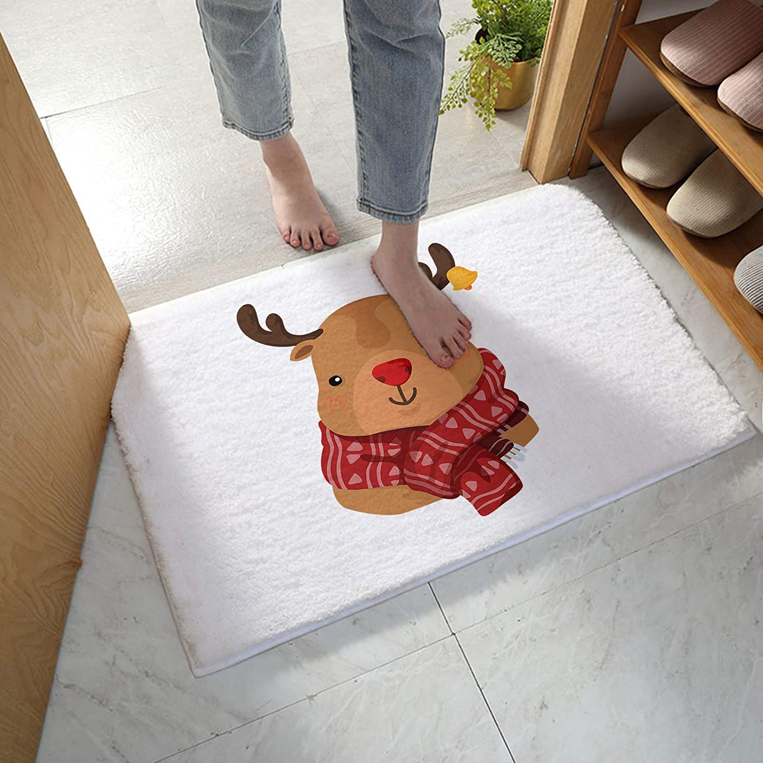 MuswannaA Bathroom Rug Bath New sales Limited time trial price Mat Christmas Red Elk with Cartoon S