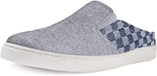 ZIZOR Men's Canvas Slippers Cozy Memory Foam, Checker Cloth Slip-on House Shoes with Anti Skip Rubber Sole