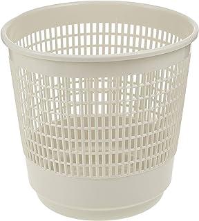 Cosmoplast Plastic Round Trash Waste Bin Paper Basket Small, Off White, 9 Liters, IFHHBK041OW