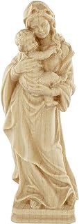 Ferrari & Arrighetti Imagen de la Virgen Tirolesa en Talla de Madera con Acabado Natural - Mide 10 cm - Demetz Deur