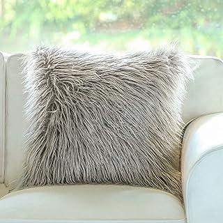 Phantoscope Insert Included Throw Pillows Grey Faux Fur Cushion 18