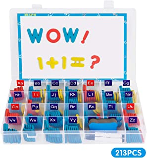 213 PCS Magnet Letters and Numbers Kit, Foam Magnetic Alphabet Letters with Magnetic Board and Storage Box, ABC Magnets Letters for Fridge, Alphabet Magnets for Kids Classroom Learning Spelling