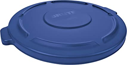 Rubbermaid Commercial Products 1779733 BRUTE Heavy-Duty Round Trash Can/Container Lid, 55 Gallon, Blue (Pack of 3)