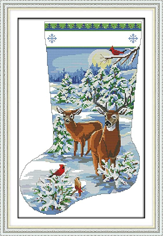 CaptainCrafts Hot New Cross Stitch Kits Needlecrafts Patterns Counted Embroidery Kit - Elk Deer Christmas Stocking (WHITE)