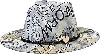 Jixin4you Teardrop Fedora Hat - Wool Felt Wide Brim Panama Cap - for Travel One Size - Unisex Leather Band