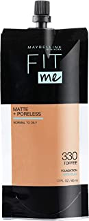 Maybelline  Matte + Poreless Liquid Foundation, Face Makeup, Pouch Format for Home or On-The-Go, Normal to Oily Skin Types, Toffee, 1.3 Fl Oz