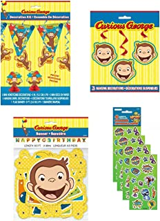 Bigsavings Curious George Birthday Party Supply Decoration Bundle Includes Banner, Mini Centerpieces, Hanging Swirls, 8 Feet Flag Pennant Banner